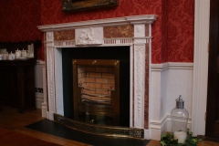 Irish 18th century brocattello and statuary marble fireplace