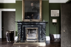 Bespoke marble fireplace and Irish turf bucket by Ryan & Smith