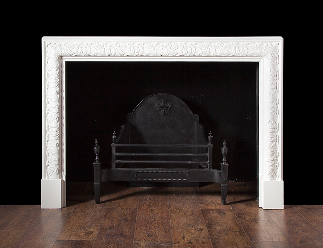 Carved Wooden Bolection Antique Fireplace – W060