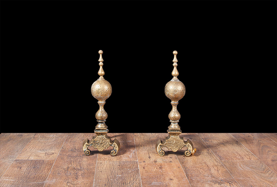 Dutch Gothic Brass Andirons – AI015