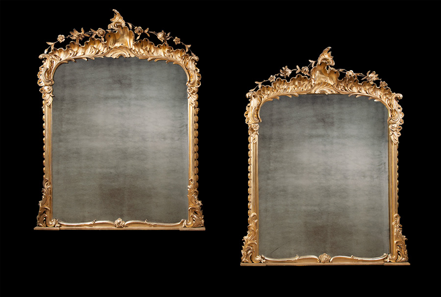 Pair of Antique Carved Gilt-wood Mirrors
