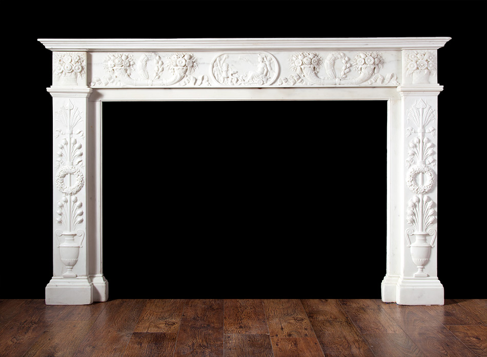 Antique Carved Italian Marble Fireplace -18138