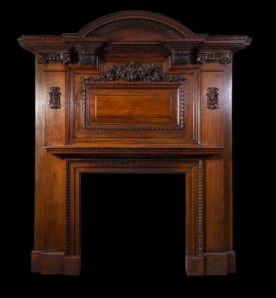 Large Antique Oak Fireplace – W081