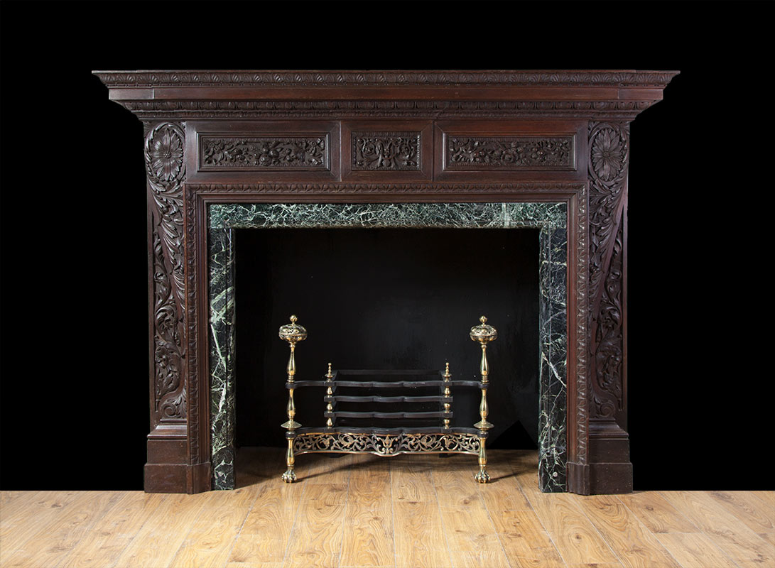 Antique Teak Fireplace – W091