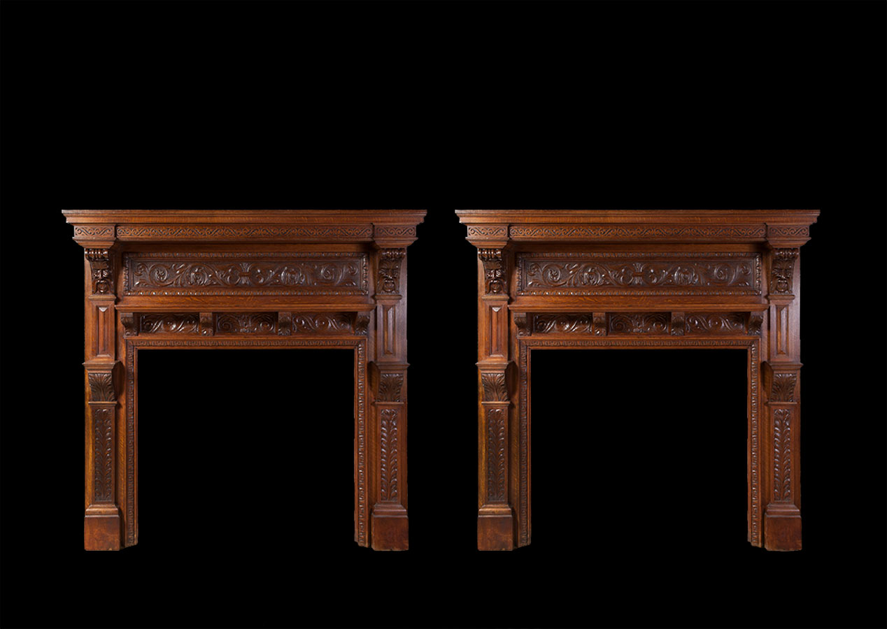 Pair of Antique Wooden Fireplaces – W093