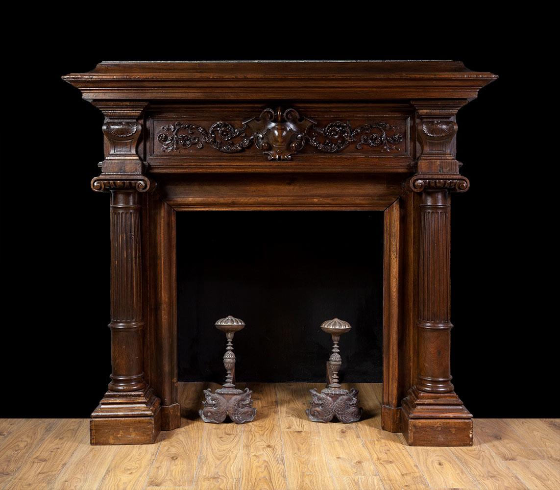 French Walnut Fireplace – W095