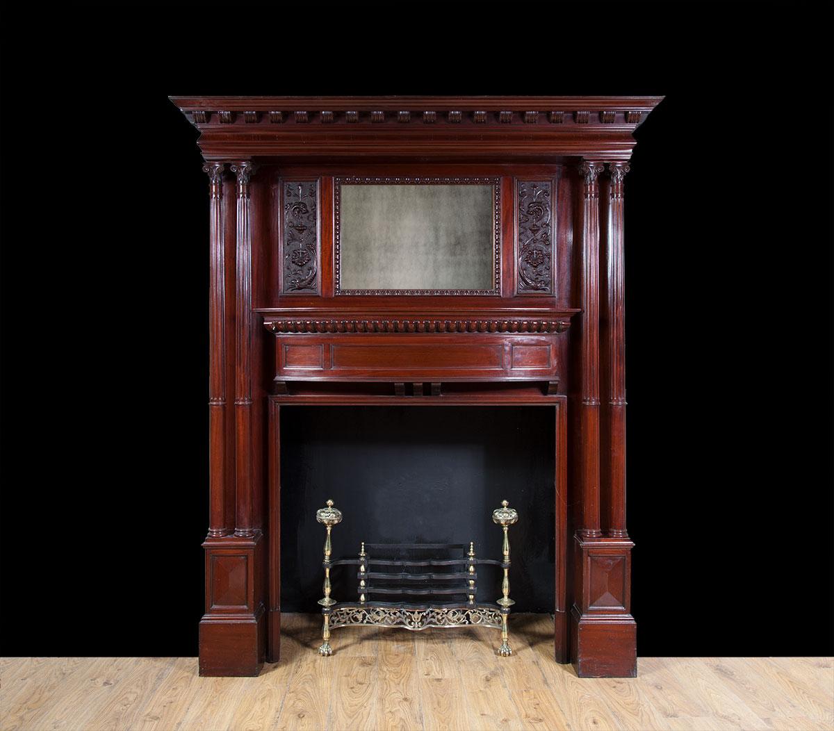 Antique Mahogany Mantelpiece – W096