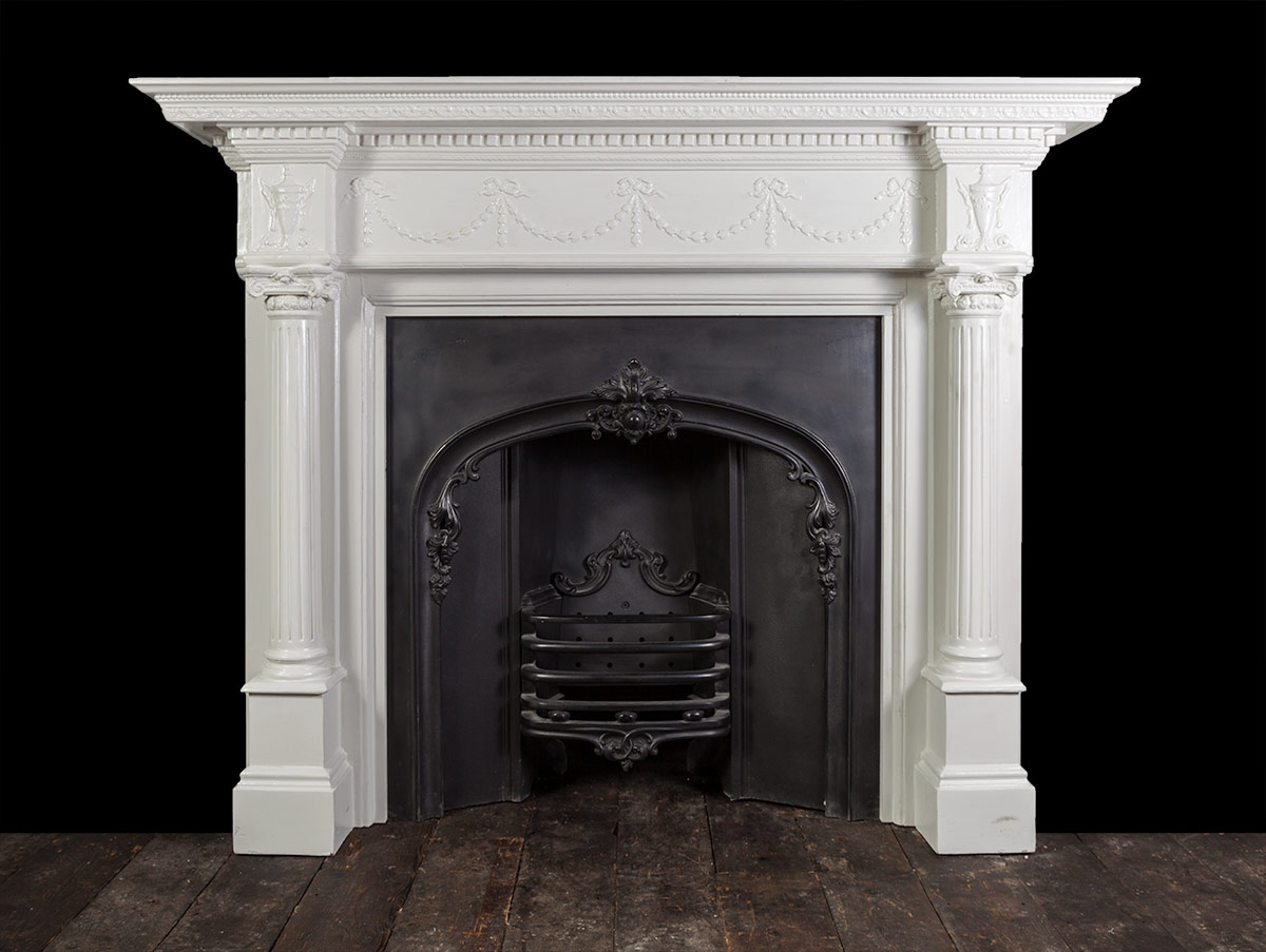 Antique Painted Wooden Fireplace – W099