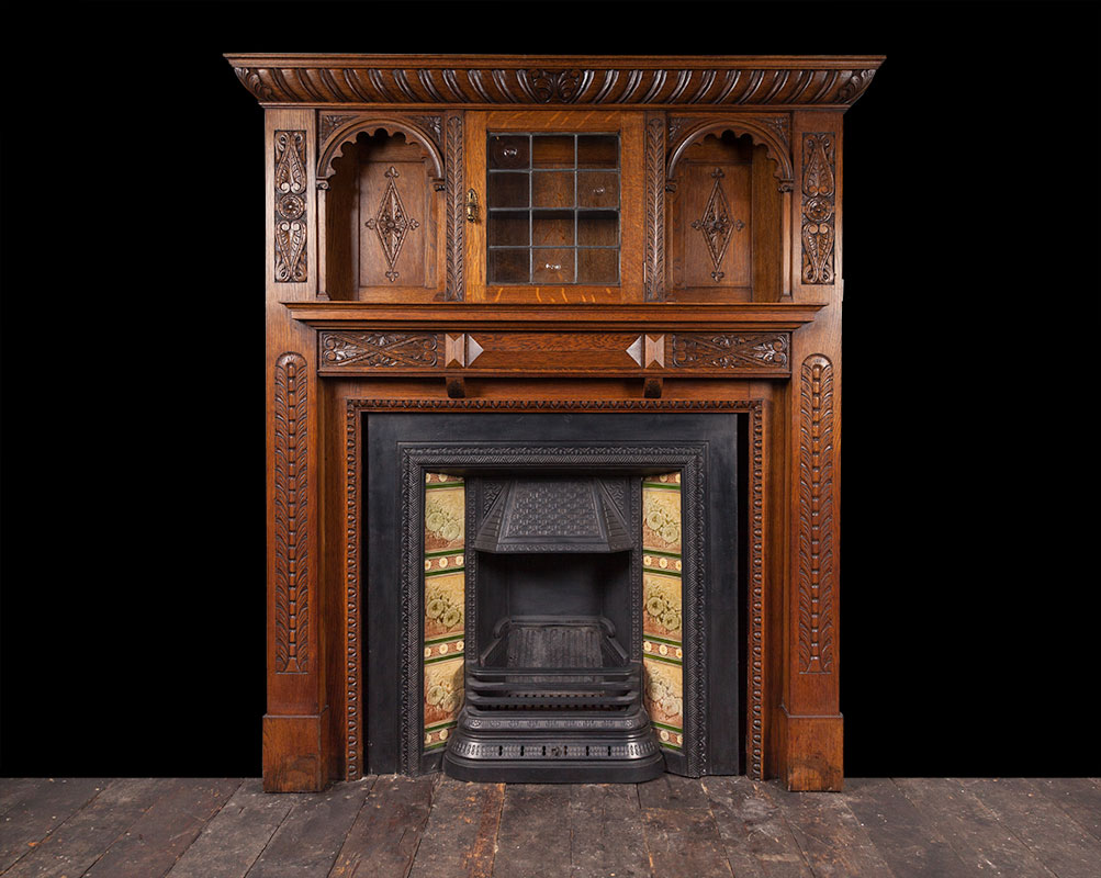 Antique oak fireplace – W101