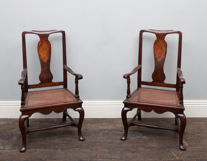Pair Queen Anne chairs