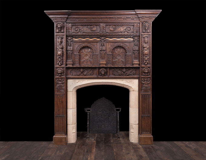 Jacobean Period Wooden Fireplace