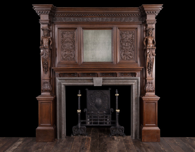 Large antique wooden fireplace