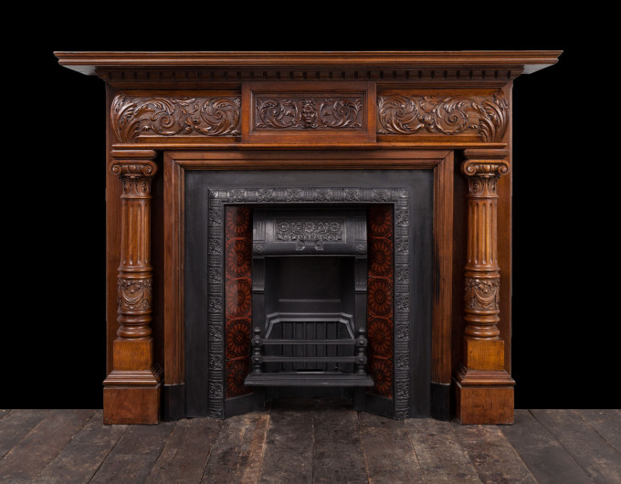 Victorian Carved Wooden Fireplace