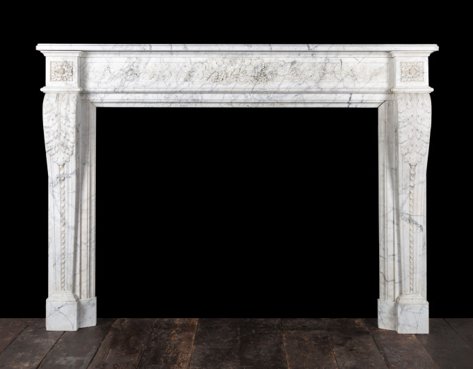 French Carrara marble fireplace