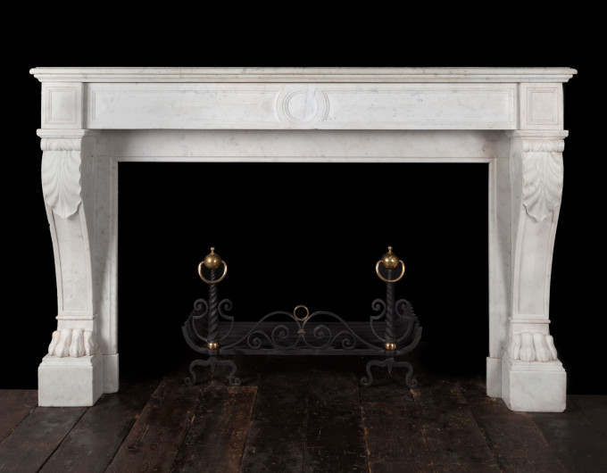 Antique Carrara Marble Fireplace