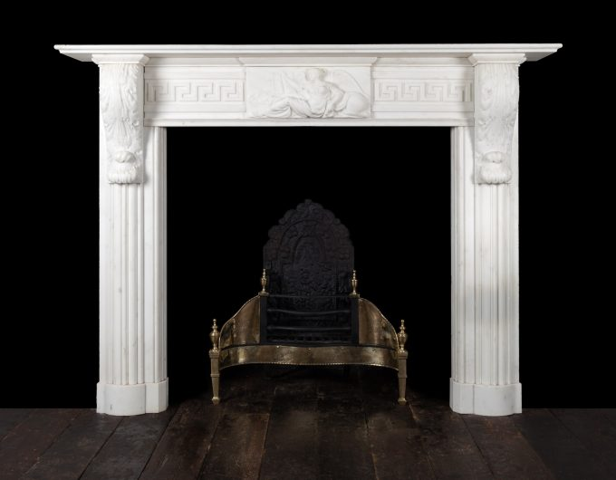 Antique statuary marble fireplace