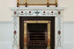 Inlaid marble fireplace in the manner of Pietro Bossi made by Sharpe and Emery