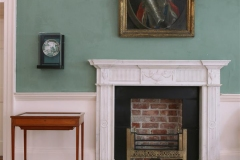 George III statuary marble fireplace with brass register grate