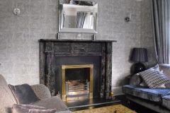 Irish william IV Portoro Nero marble fireplace with brass register grate