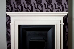 The claremount limestone fireplace with castiron insert