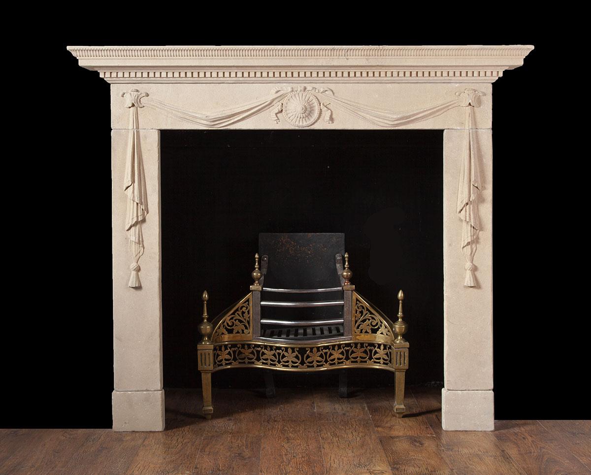 Antique Portland Limestone Fireplace – ST015