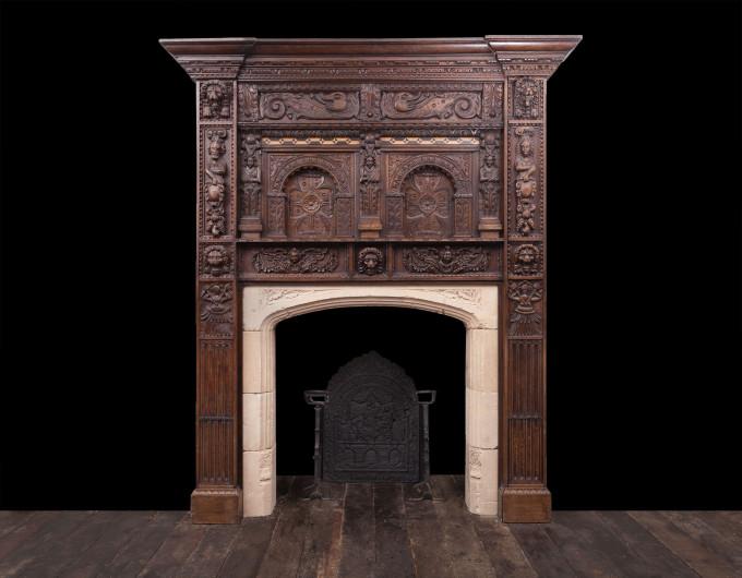 Jacobean Period Wooden Fireplace