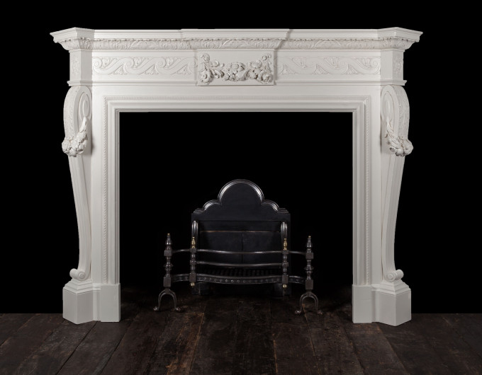 Antique carved wooden fireplace