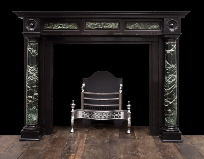 Antique black marble fireplace