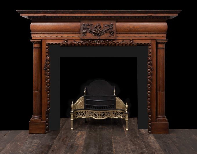 Antique wooden fireplace