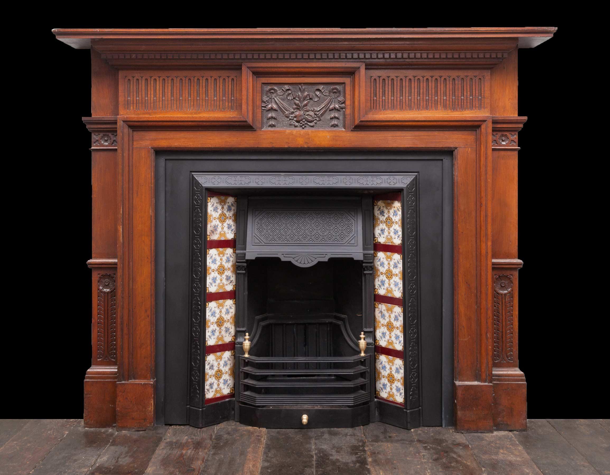 Walnut fireplace – W123