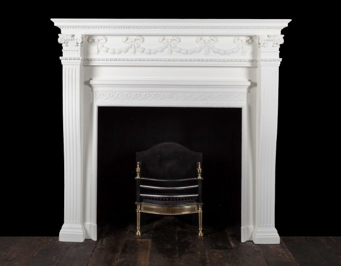 Painted antique fireplace