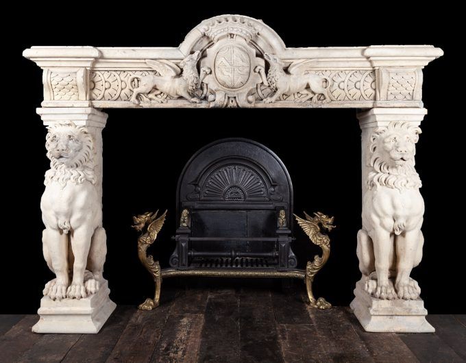 Antique stone mantel