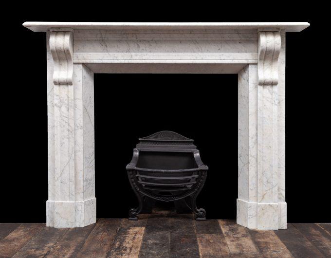 Pair Carrara marble fireplaces