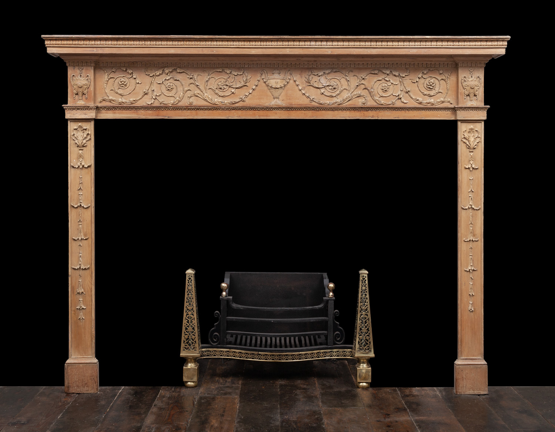 Carved Pine Mantel – W149
